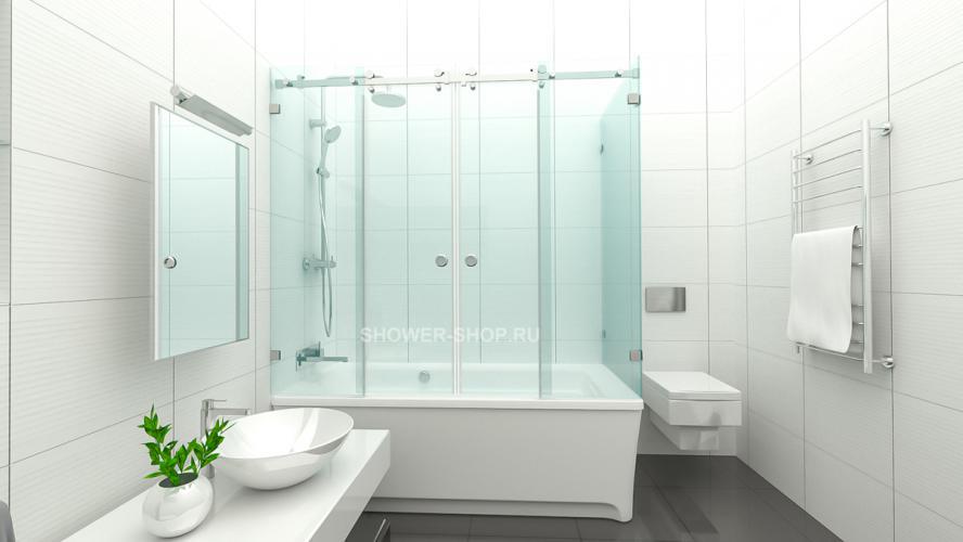 Раздвижная шторка на ванну уголком №112